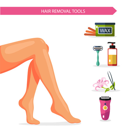 feet care: Vector flat design illustration and icons of epilation. Beautiful female legs or feet and different types of hair removal. Bottle of wax, shaving razor and gel, eyebrow tweezers, clipper.