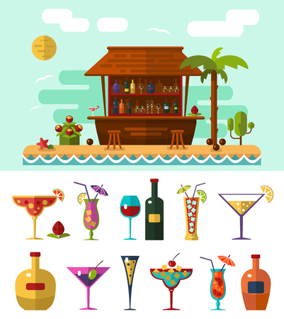 cocktails: Flat style vector illustration of cocktail bar on tropical beach, summer vacation. Ocean cost, palm with coconut and cocktails icons.