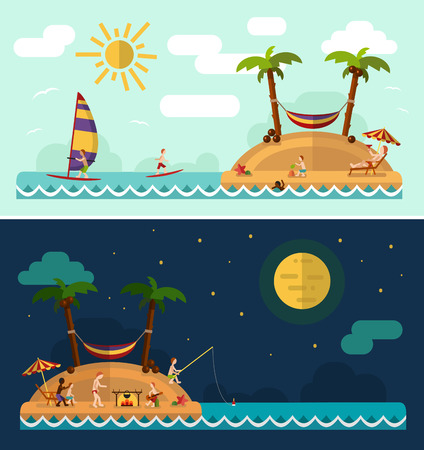 Flat design nature landscape illustration with tropical island, sun, palm, hammock, fishing man, swimming man, surfing, moon and clouds. Family summer vacation on tropical island. Stock Illustratie