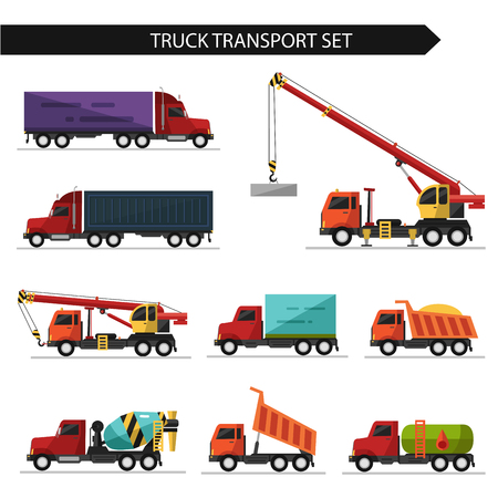 dump truck: Flat style vector illustration of truck and delivery transport isolated on white background. Including concrete mixer, truck crane, refrigerator, gasoline tanker.