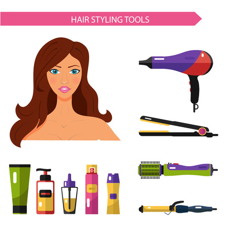 hair product: Flat vector cosmetics icons set of hair styling tools for website in pastel colors. Beautiful woman with hairdryer, hair curler, hair straightener, hairdryer brush, hairspray, hair oil, shampoo.