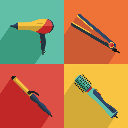 Flat vector cosmetics icons set of hair styling tools for website in pastel colors. Hairdryer, hair curler, hair straightener, hairdryer brush. Ilustração
