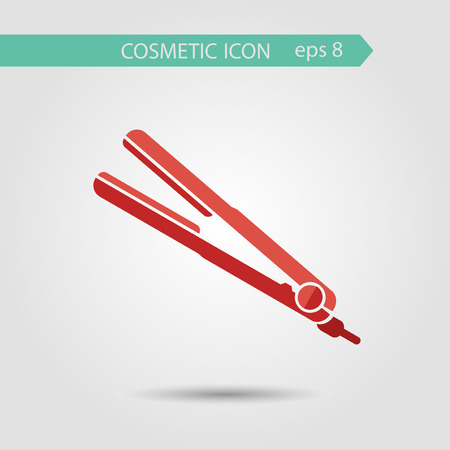 flat iron: Vector stylish flat icon of curl iron of beauty, makeup and cosmetics.