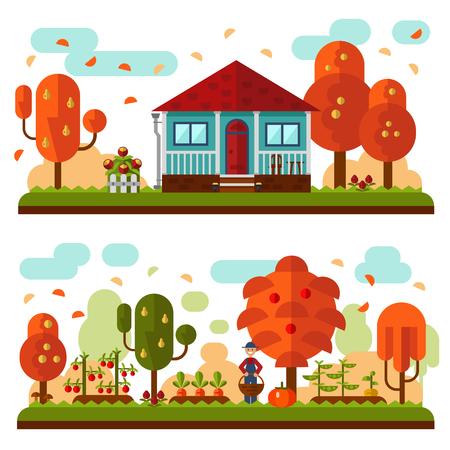 manzana caricatura: Vector ilustración plana de paisajes de otoño. Casa azul con techo rojo y terraza, las flores. Jardín con manzanos, perales, camas de zanahorias, guisantes, tomates, calabaza, nabo. Jardinero con una cesta.