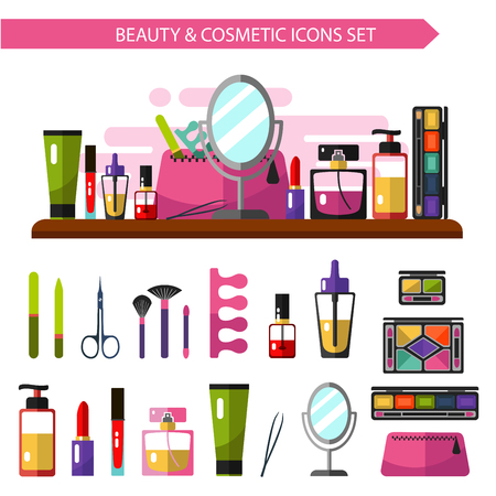 Vector flat style illustration of beauty products. Cosmetics icons set. Mirror, cosmetic bag, nail polish, eye shadows pallets, perfume, lipstick, brushes.