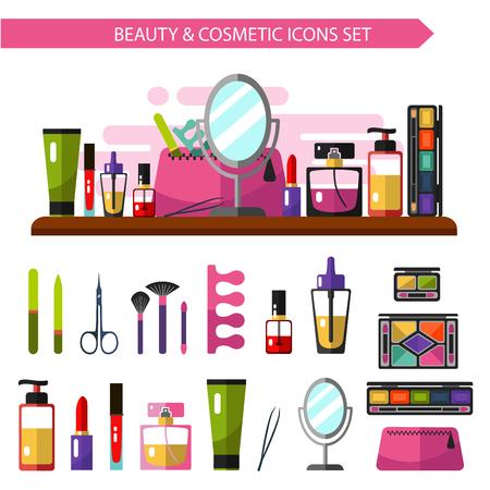 cosmeticos: Vector estilo plano ilustraci�n de productos de belleza. Cosm�ticos iconos conjunto. Espejo, bolsa de cosm�ticos, esmalte de u�as, sombras de ojos paletas, perfume, l�piz labial, cepillos.