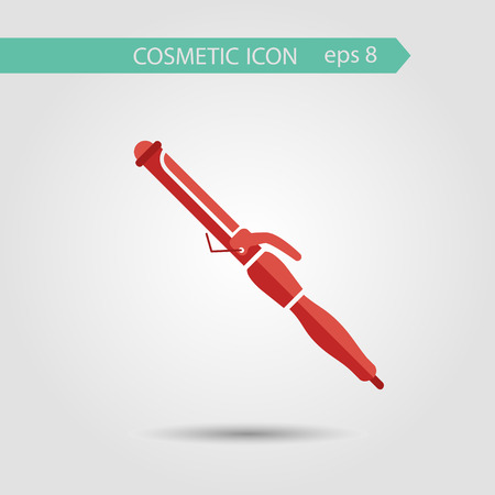curler: Vector stylish flat icon of hair curler of beauty and cosmetics. Illustration