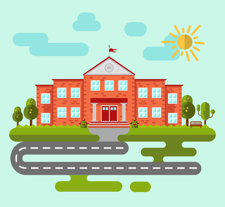 university building: School or university building. Set of elements to create urban background, village and town landscape. Flat style vector illustration.
