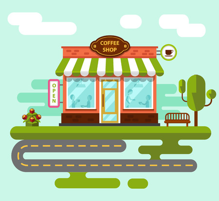 dinner date: Coffee shop building facade with signboards, bench, tree road and flowers. People eating and drinking at the tables inside the building. Flat style vector illustration. Illustration