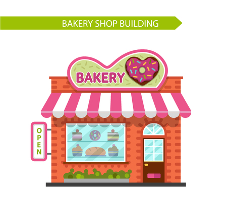 donut shop: Vector flat style illustration of bakery shop building. Signboard with donut in heart shape. Isolated on white background.