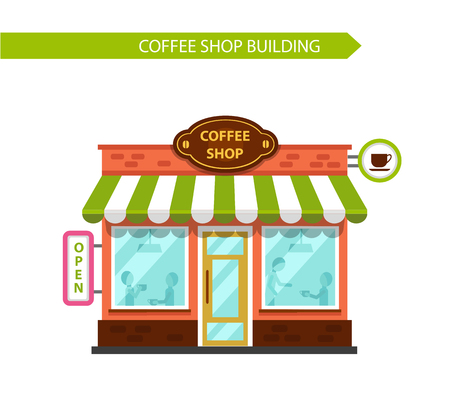 facade building: Coffee shop building facade with signboards isolated on white background. People eating and drinking at the tables inside the building. Flat style vector illustration. Illustration