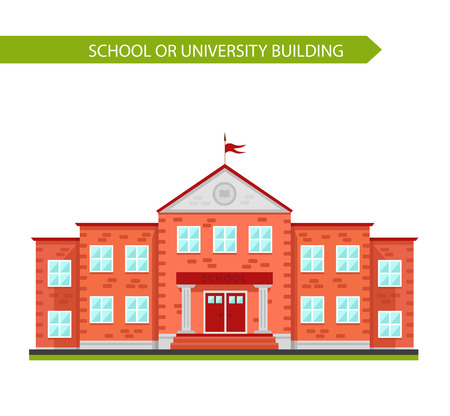 university building: School or university building. Element to create urban background, village and town landscape. Flat style vector illustration isolated on white background.