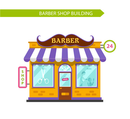 serve: Vector flat style illustration of barber shop building. Signboard with big mustache. Barber serve customers. Isolated on white background.