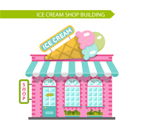 sidewalk cafe: Vector flat style illustration of ice cream shop building. Signboard with big ice cream cone. Isolated on white background.