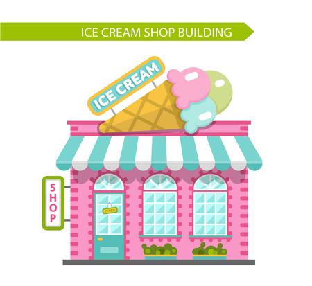 Vector vlakke stijl illustratie van de ijssalon gebouw. Uithangbord met grote ijs kegel. Geïsoleerd op een witte achtergrond.