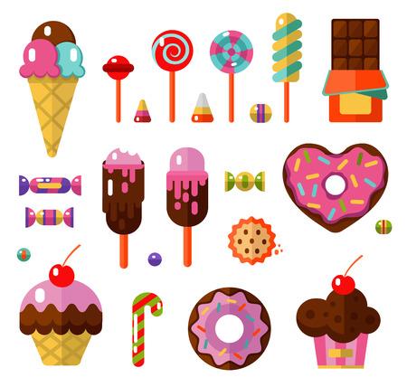 菓子類などの製品のベクトル フラット スタイルのイラスト。デザートのアイコンを設定します。ドーナツ、ロリポップ、チョコレート、ケーキ、ア