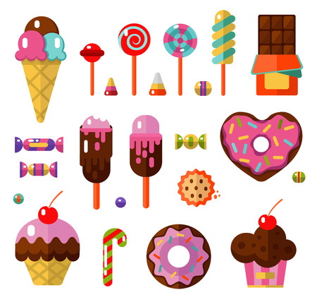Vector flat style illustrations of sweets and candies products. Dessert icons set. Donut, lollipop, chocolate, cake, ice cream, cookie, caramel, candy and fruit gum. Ilustração