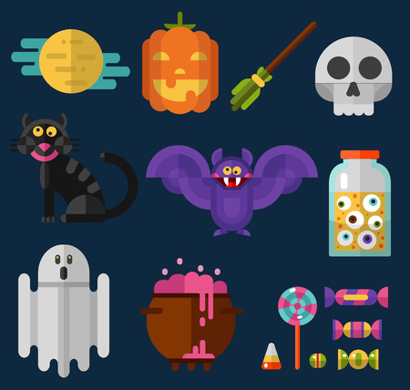 magic potion: Flat style vector icons set of Halloween. Pumpkin, big moon, candy and lollipop, black cat, ghost, witchs broom, bottle with eyes, pot with boiling magic potion, skull, and bat.