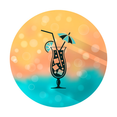 Vector stylish flat icon with long shadow effect of drinks and cocktails on blurred background. Coctail with lime, ice and umbrella. Illustration