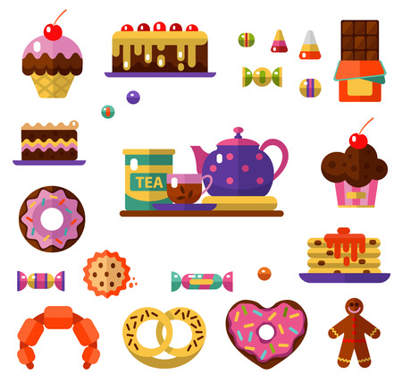 Vector flat style icons of tea party and sweets products. Dessert icons set. Cup, teapot, tea can, tea, donut, chocolate, cake, cookie, candy, gingerbread, croissant and pretzel. Illustration