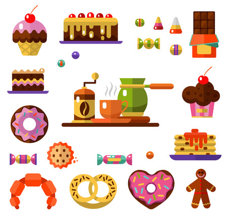 gingerbread cake: Vector flat style icons of coffee and sweets products. Dessert icons set. Cup, coffee grinder, coffee maker, donut, chocolate, cake, cookie, candy, gingerbread, croissant and pretzel.