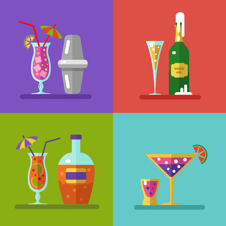 champagne glasses: Vector illustration of alcohol bottles, drinks, and cocktails icons set in flat design style. Including cocktail shaker.