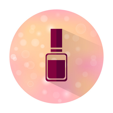 perfumery concept: Vector stylish flat icon of beauty and cosmetic on blurred background. Bottle of nail polish. Illustration