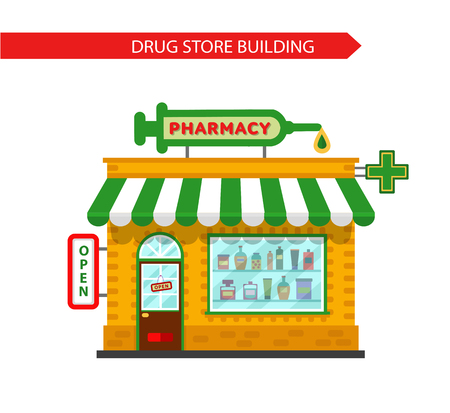 Vector flat style illustration of pharmacy drugstore building. Signboard with big syringe. Pharmacy vitrine with tablets, pills and potions. Isolated on white background. Illustration
