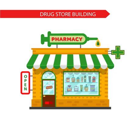 símbolo de la medicina: Vector estilo plano ilustraci�n de edificio droguer�a de la farmacia. Letrero con la jeringa grande. Vitrina de Farmacias con tabletas, p�ldoras y pociones. Aislado en el fondo blanco. Vectores