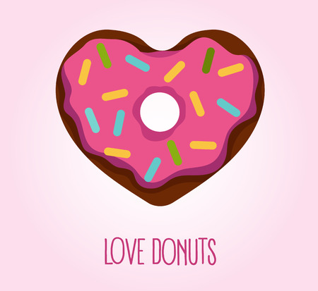 glaze: Vector flat style illustration of donut in heart shape with glaze and decorative sprinkles. Logo concept, top view. Love donuts.