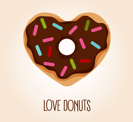 Vector flat style illustration of donut in heart shape with glaze and decorative sprinkles. Logo concept, top view. Love donuts.