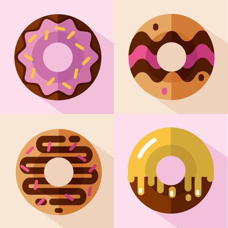 Vector flat style icons set of different types of donuts, top view. Sweet donuts with glaze and decorative sprinkles. Fast food.