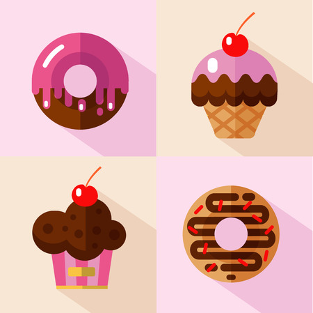 muffins: Vector flat style icons set of different types of donuts and muffins. Sweet donuts with glaze and decorative sprinkles and muffins with cherry. Fast food. Illustration