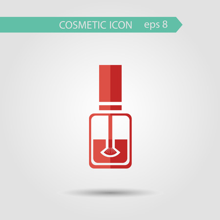 perfumery concept: Vector stylish flat icon of beauty and cosmetic. Bottle of nail polish with brush. Illustration