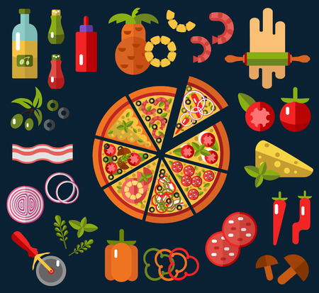 pepperoni: Slices of pizza Margherita, Pepperoni, Cheese, Marinara, Seafood, Hawaiian, Mexican, Mushroom. Pizzas ingredients - tomato, olive, onion, pepper, mushroom in flat design.Top view.