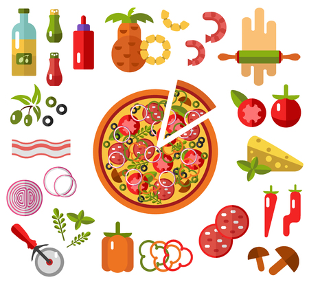 tomato slice: Vector flat icons set of Pizza with slice and Pizzas ingredients - tomato, olive, onion, pepper, mushroom, shrimp, cheese, bacon, pineapple, sausage in flat design. Fast food. Top view.