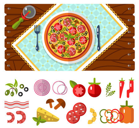 napkins: Table with pizza, knife and fork, tablecloths or napkins top view. Fast food. Pizzas ingredients - tomato, olive, onion, pepper, mushroom, shrimp, cheese, bacon, pineapple, sausage in flat design. Illustration