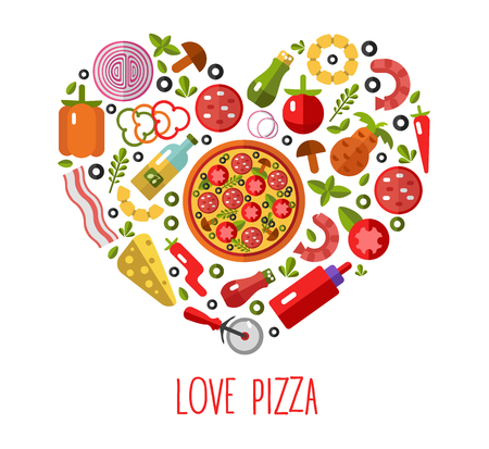 Vector flat pizza's icons in heart shape top view. Pizza's ingredients - tomato, olive, onion, pepper, mushroom, shrimp, cheese, bacon, pineapple, sausage. Love Pizza. Stock Illustratie