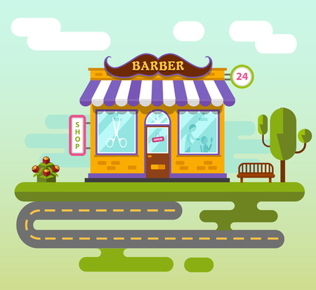 barber: Vector flat style illustration of City landscape with barber shop building, street with road, bench, tree and flower. Signboard with big mustache. Barber serve customers.
