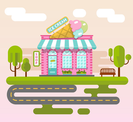 cute house: Vector flat style illustration of City landscape with ice cream shop building, street with road, bench and trees. Signboard with big ice cream cone.