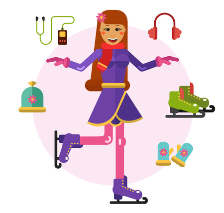 girl happy: Vector flat icons and illustration set of beautiful happy girl skating on ice. Ice skating symbols - ice skate, gloves, hat, player and fur headphones. Sport style concept.