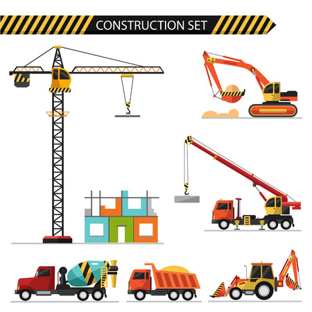 lands: Flat style vector illustration of construction, isolated on white background. Including concrete mixer, truck crane, crane, bulldozer, excavator and truck car. Illustration