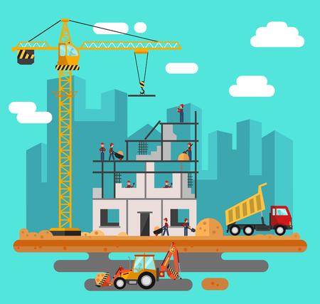 constructor: Vector estilo plano ilustración de proceso de construcción, paisaje de la ciudad. Incluyendo la grúa o la excavadora y niveladora, arena y cemento, camión, constructores y trabajadores.