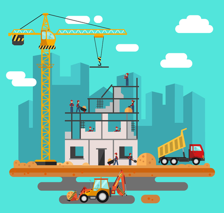 cement: Vector flat style illustration of construction process, city landscape. Including crane and bulldozer or excavator, sand and cement, truck, builders and workers.