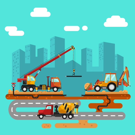 Vector flat style illustration of construction process, city landscape. Including crane and bulldozer or excavator, sand and cement, concrete mixer, truck on the road, builders and workers. Ilustrace