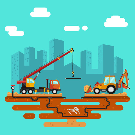 Vector flat style illustration of construction process, city landscape. Truck crane and bulldozer or excavator laying of the pipes. Including sand and cement, dinosaurs bones, pipelines.
