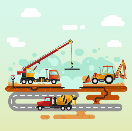 crane truck: Vector flat style illustration of construction process. Truck crane and bulldozer or excavator laying of the pipes. Including sand and cement, concrete mixer, pipelines. Illustration
