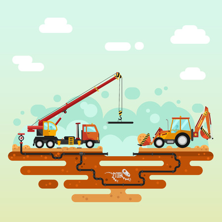 construction material: Vector flat style illustration of construction process. Truck crane and bulldozer or excavator laying of the pipes. Including sand and cement, dinosaurs bones, pipelines. Illustration