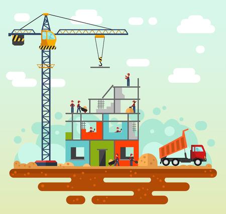 constructor: Vector estilo plano ilustración de proceso de construcción, paisaje de la ciudad. Incluyendo grúa, arena y cemento, camión descargando con arena, constructores y trabajadores.