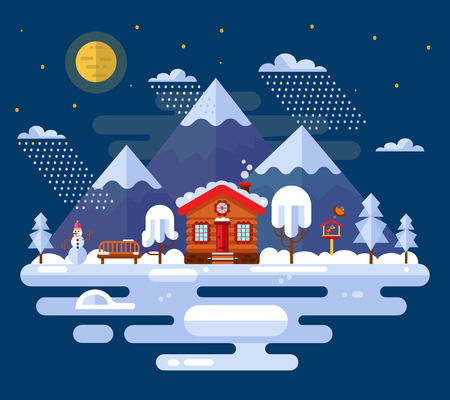 feeders: Nature winter landscape illustration with mountains, moon, clouds, snowfall, trees, bench, cartoon house, ice rink, snowman and bird feeders. Flat design night landscapes.